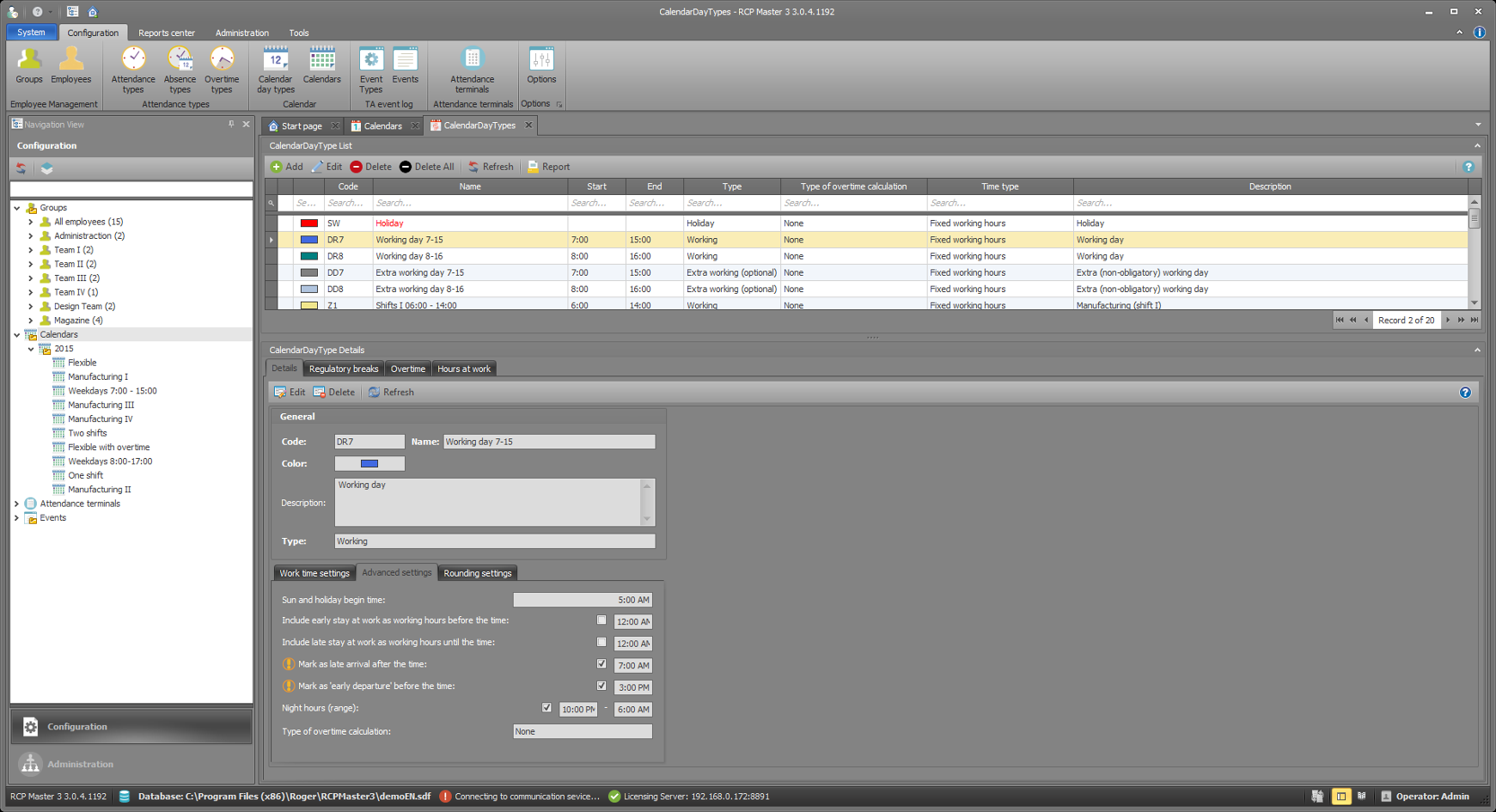 RCP Master 3 Time & Attendance Analysis Software