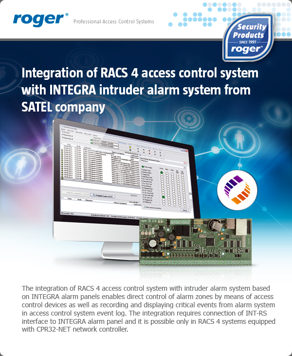 Integration of RACS 4 access control system with INTEGRA intruder alarm system