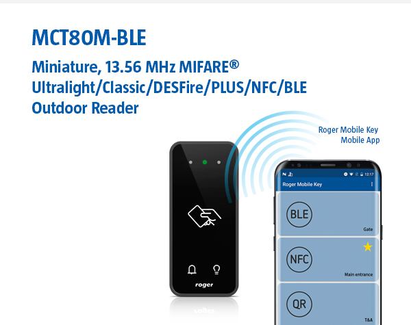 MCT80M-BLE - Miniature, MIFARE/BLE/NFC Outdoor Reader