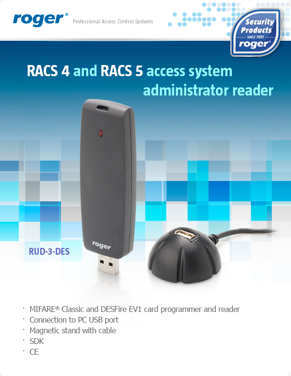 RACS 4 and RACS 5 access system administrator reader
