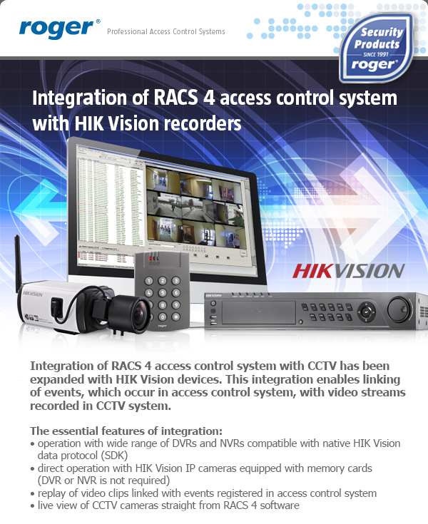 Integration of RACS 4 access control system with HIK Vision recorders